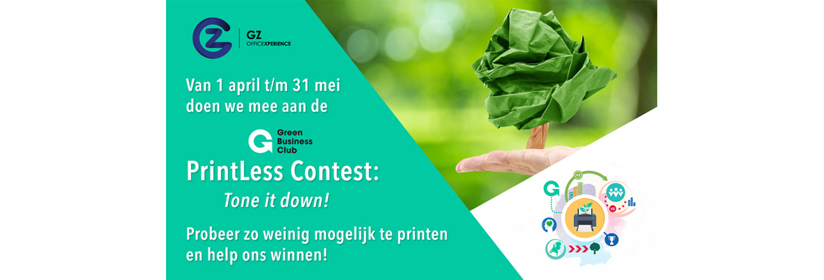 Wij doen mee aan de Green Business Club PrintLess Contest: Tone it down!